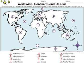 World Map: Continents and Oceans - Locate Places on a Map #1 - King Virtue