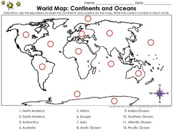 World Map: Continents and Oceans - Locate Places on a Map #2 - King Virtue