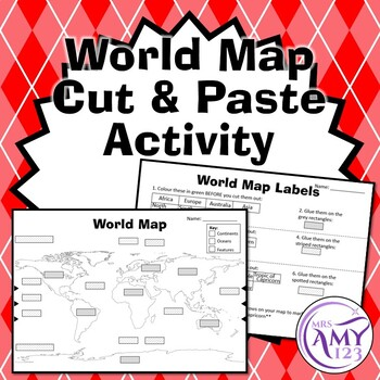 World Map Cut And Paste Teaching Resources   Teachers Pay Teachers