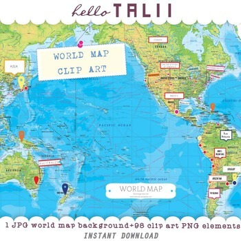 World Map Digital Clip Art Megabundle: 1 map + 98 clip art elements