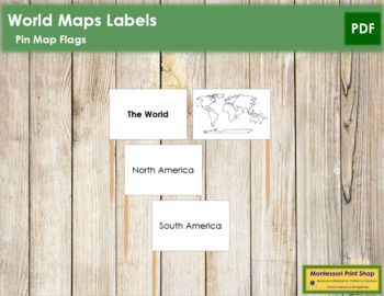 World Map Labels - Pin Map Flags