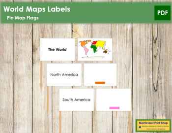 World Map Labels - Pin Map Flags (color-coded) by Montessori Print Shop