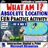 World Map Latitude & Longitude Worksheet | FUN What am I? Location Activity