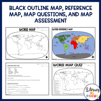 World Map Lesson and Assessment (DIGITAL and PDF)