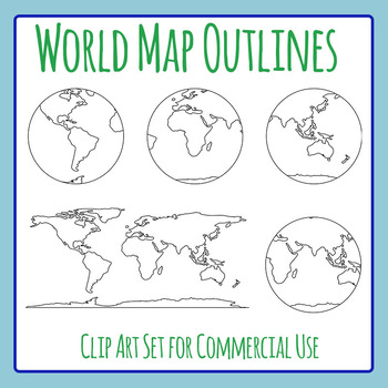World Map Outlines Simple Lines Clip Art for Commercial Use
