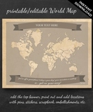 World Map Printable - Printable Editable Map Instant Download - Geography