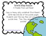 World Map Puzzle {FREEBIE}