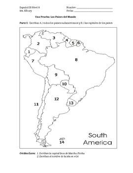 World Map Quiz in Spanish