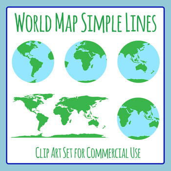 World Map Simple Lines Color Clip Art Commercial Use