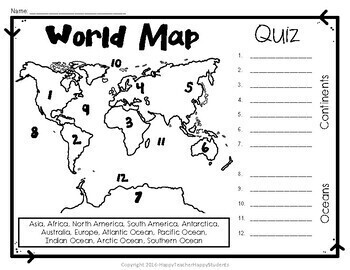 world map world map quiz and map worksheet 7 continents and 5 oceans. Black Bedroom Furniture Sets. Home Design Ideas
