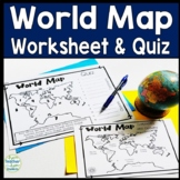 World Map: World Map Quiz (Test) and Map Worksheet - 7 Continents and 5 Oceans