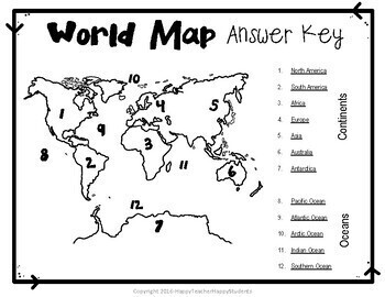 Map: World Map Quiz (Test) and Map Worksheet - 7 Continents and 5 ...
