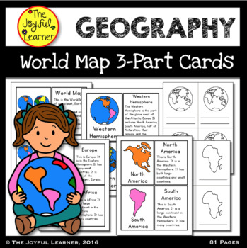 World Map and Continents 3-Part Cards & Book Making Masters