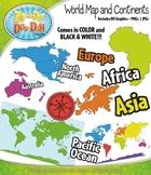 World Map and Continents Clipart {Zip-A-Dee-Doo-Dah Designs}