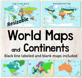 World Map and Continents Maps - World Biomes Map - USA Map - Color and Blank