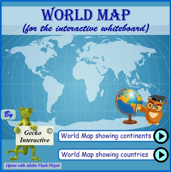 World map for the interactive smartboard and whiteboard by gecko world map for the interactive smartboard and whiteboard gumiabroncs Choice Image