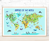 World Map with Animals Printable Poster