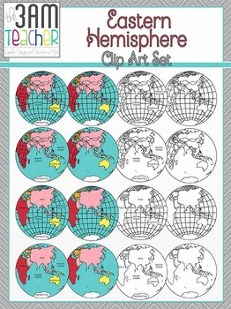 World Maps Clip Art: Eastern Hemisphere Globe Set!!!
