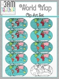 World Maps Clip Art: Flat World Map Set!!!