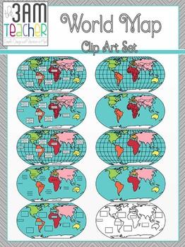 World Maps Clip Art: Flat World Map Set!!!