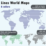 World Maps Clip Art : Maps with Horizontal Straight Lines