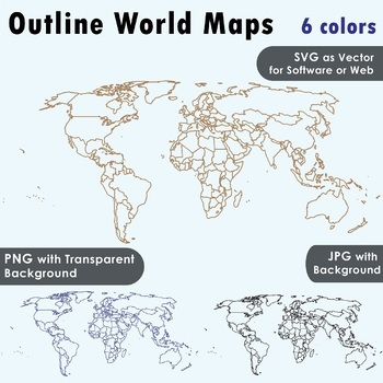 World Maps Clip Art : Maps with outlines or curve lines