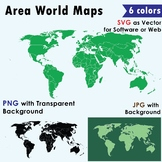 World Maps Clip Art : Maps with integrated land area