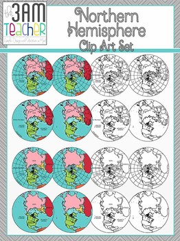 World Maps Clip Art: Northern Hemisphere Globe Set!!!