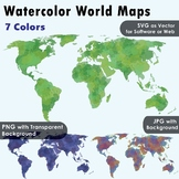 World Maps Clip Art : Watercolor Maps of different colors