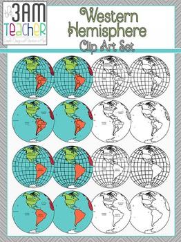 World Maps Clip Art: Western Hemisphere Globe Set!!!