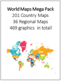 World Maps Mega Pack 201 Country Maps, 36 Regional Maps - 469 graphics in total!