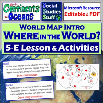 World Mental Map Activity- Continents and Oceans
