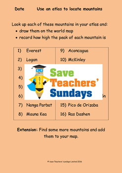 World Mountains (using an atlas) Lesson plan, Instructions and Worksheet