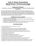 World Music Assessment MYP IB Year 1