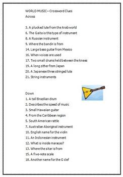 World Music Crossword Puzzle