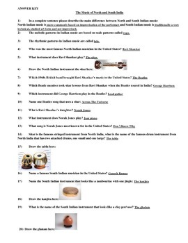 World Music Worksheet - North and South Indian Music