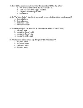 World Myths, Folktales, and Fairytales Test with No Answer Key
