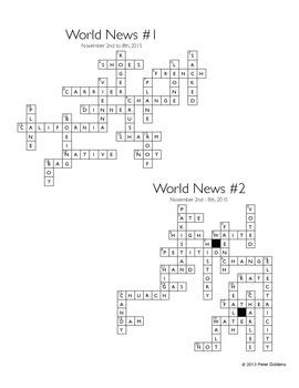 World News Crossword for the week ending November 8th, 2015