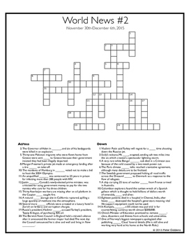 World News Crosswords - December 6th, 2015.