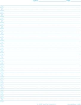 World Of Smiles Handwriting Paper - Advanced Portrait (narrow ruled)
