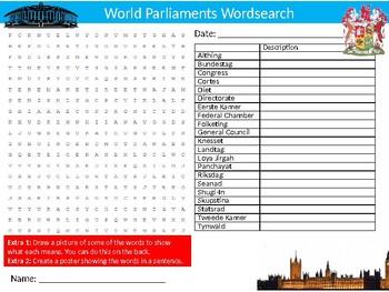World Parliaments Wordsearch Sheet Starter Activity Keywords Government Politics