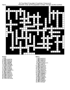 World Population Crossword and Wordsearch