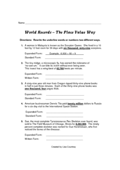 World Records - The Place Value Way
