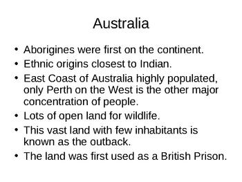 World Regional Geography Australia Power Point