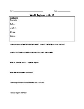 World Regions Study Guide