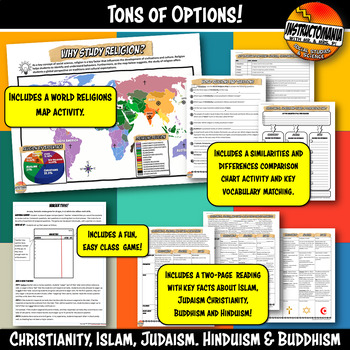 World Religion Bundle Activity & Informational Text Bundle, Comparing Religions