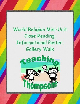 World Religion Close Readings, Poster Instructions, and Gallery Walk Activity