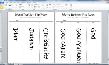 World Religion Flip Book