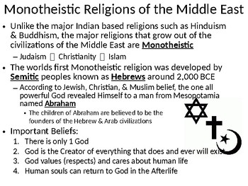 World Religion:  Monotheistic Belief Systems