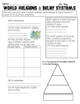 World Religions & Belief Systems Skills Packet